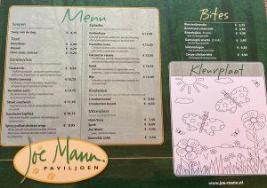 Joe Mann menu doordeweeks